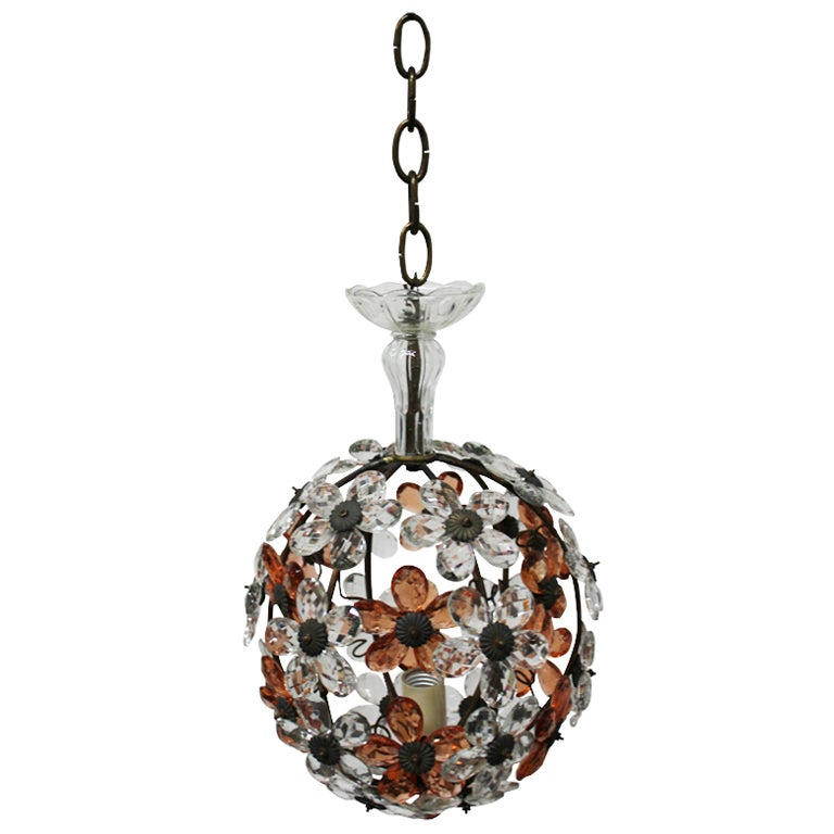 Whimsical French 40s Glass Pendant At 1stdibs