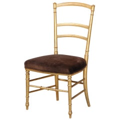 Small gilt and brown velvet Napoleon III side chair