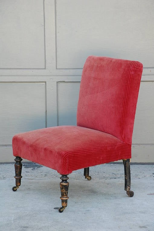 small red velvet napoleon iii chauffeuse at 1stdibs. Black Bedroom Furniture Sets. Home Design Ideas