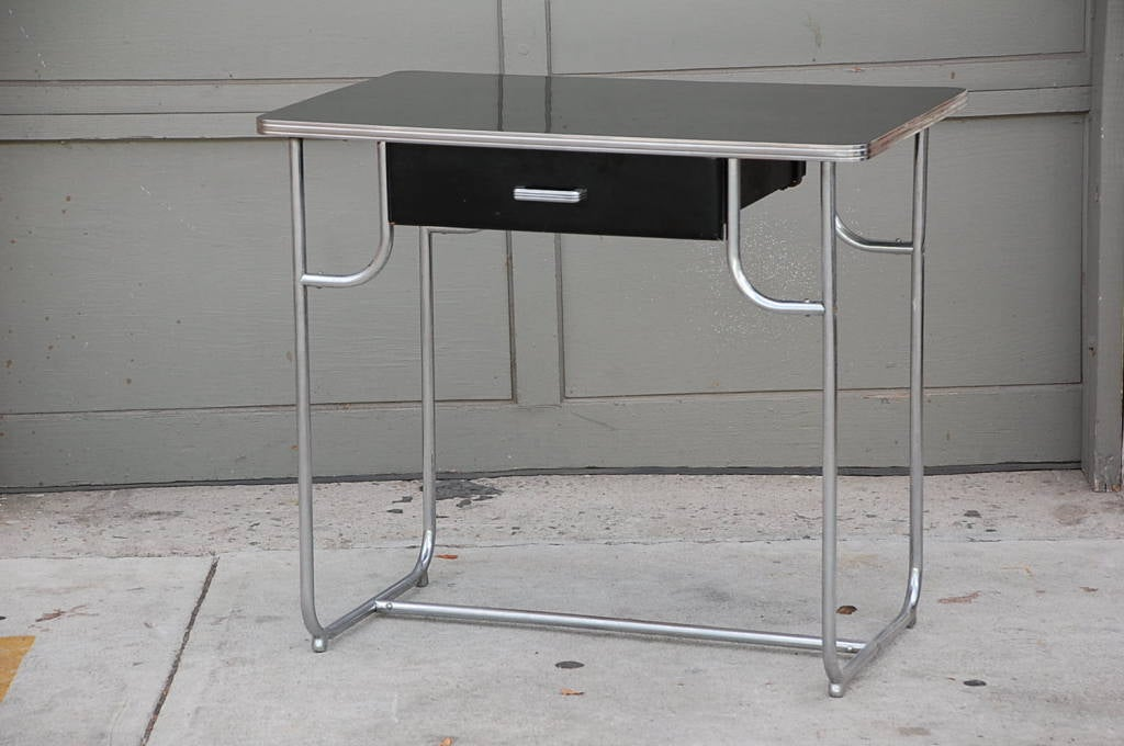 Rare Lloyd Chromium Writing Desk by Kem Weber In Excellent Condition For Sale In Los Angeles, CA