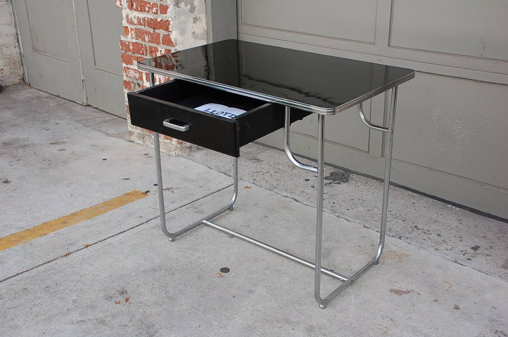 Mid-20th Century Rare Lloyd Chromium Writing Desk by Kem Weber For Sale