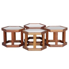 Set of 4 Hexagonal Side Tables by John Keal for Brown-Saltman