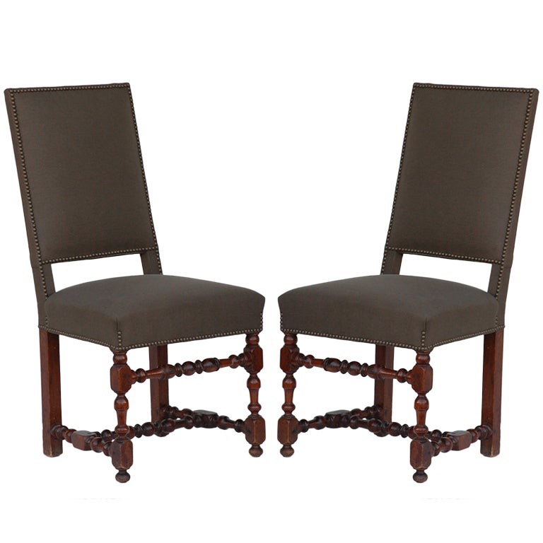 Pair of classic turned wood Louis XIII style side chairs