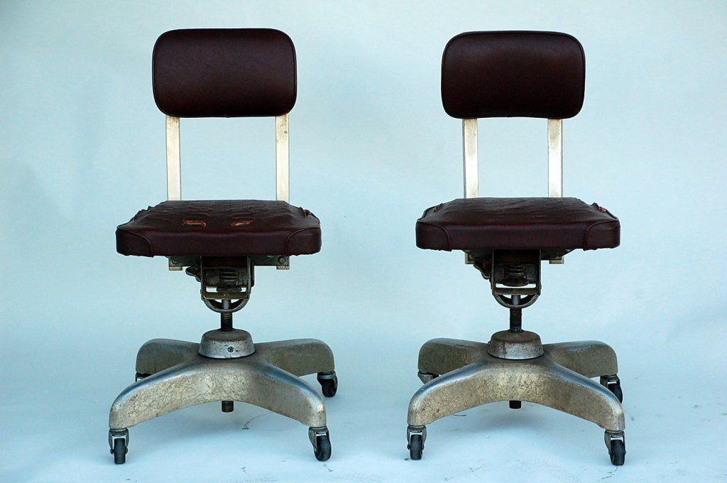 Pair of Aged Industrial Office Swivel Chairs For Sale at 1stdibs
