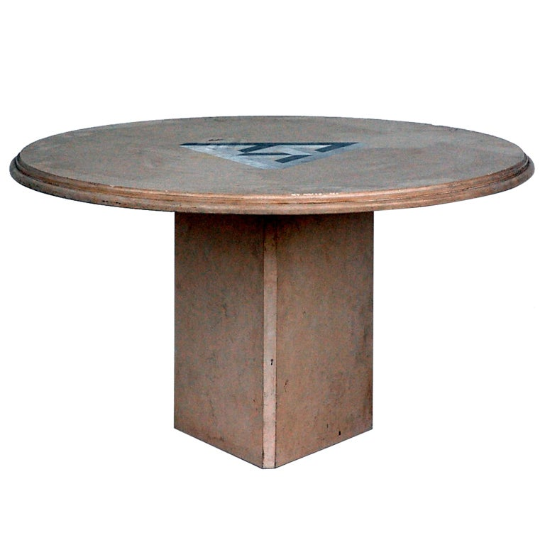 Round Low Travertine Table With Geometric Inlay At 1stdibs