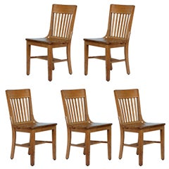 Set of 5 robust and comfortable bleached oak dining chairs