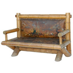 Exceptional Late 19th century Japanese style bamboo settee