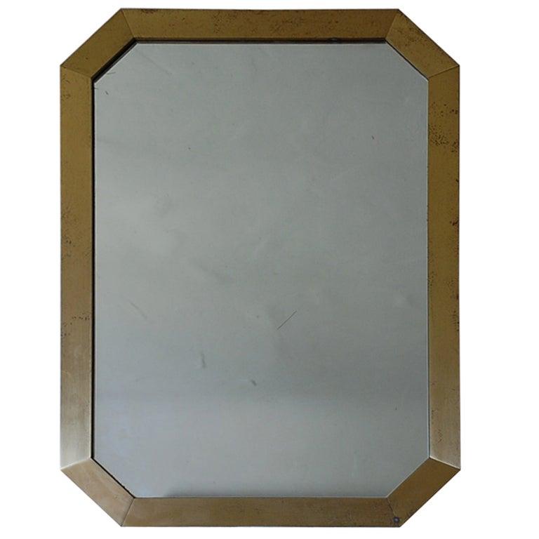 French 70's octogonal brass mirror by Guy Lefevre