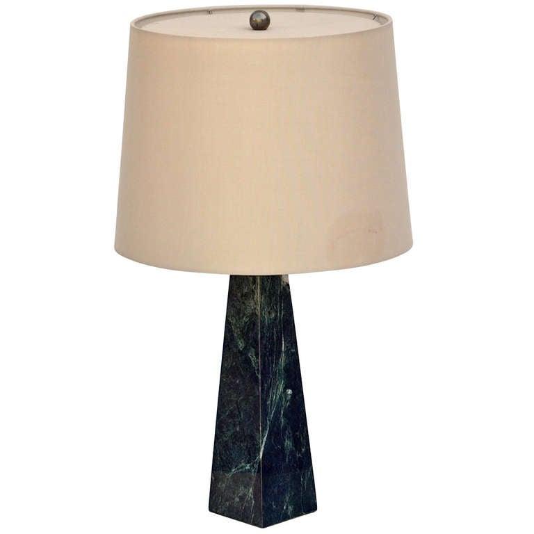Obelisk Shaped Dark Green Marble Lamp With Custom Shade At