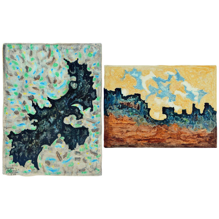 Pair of colorful monotypes by Georges-Armand Masson