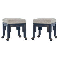 Exceptional Pair Of Upholstered Ottomans On Casters By Baker