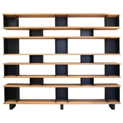 Large 'Horizontale' White Oak and Black Steel Shelving Unit by Design Frères