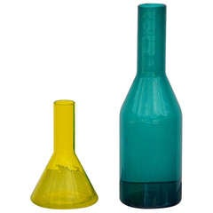 Set of 2 Scandinavian Colored Glass Vases
