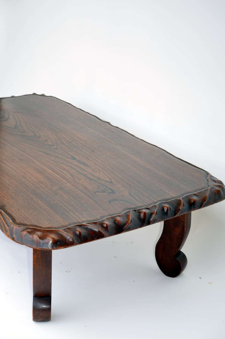 Large low japanese keyaki wood coffee table at 1stdibs for Low coffee table wood