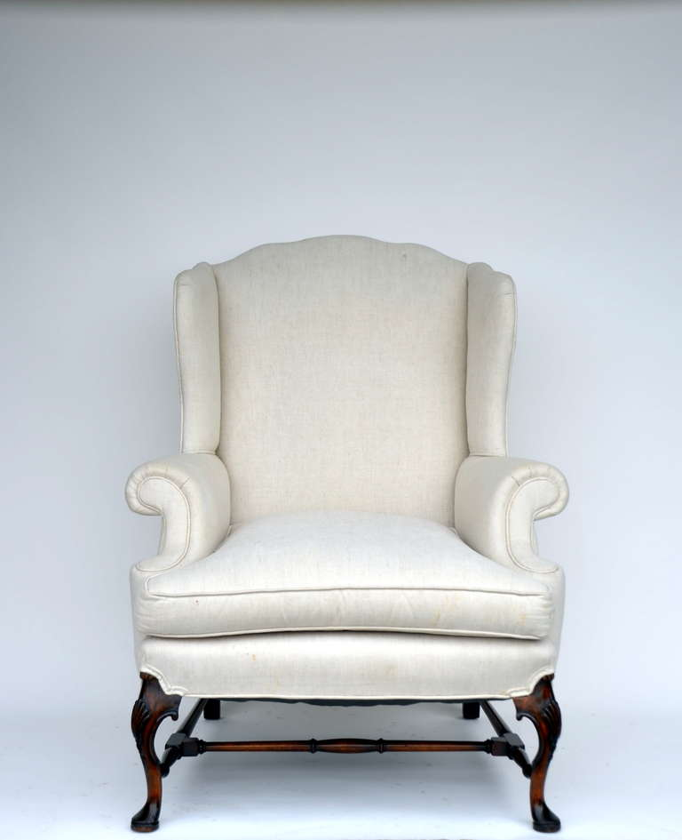 Large Comfortable Carved Wing Back Chair At 1stdibs