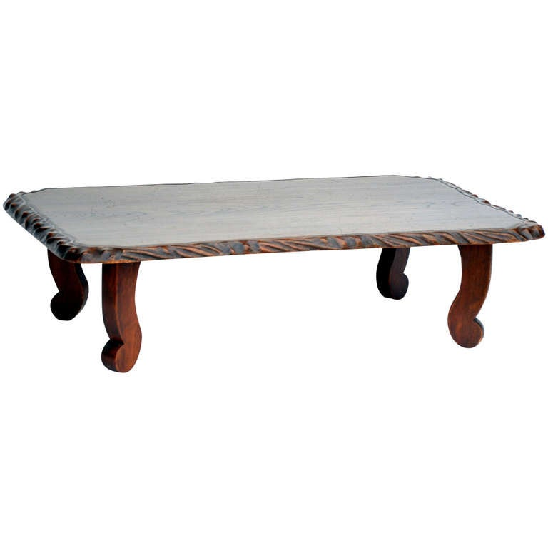 Large Low Japanese Keyaki Wood Coffee Table At 1stdibs
