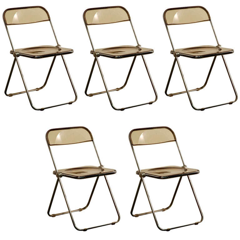 Set of Five Plia Chairs by Giancarlo Piretti for Castelli For Sale