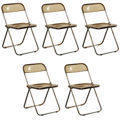 Set of Five Plia Chairs by Giancarlo Piretti for Castelli