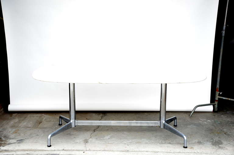 Impressive White Marble Dining Conference Table By Eames For - Eames marble table