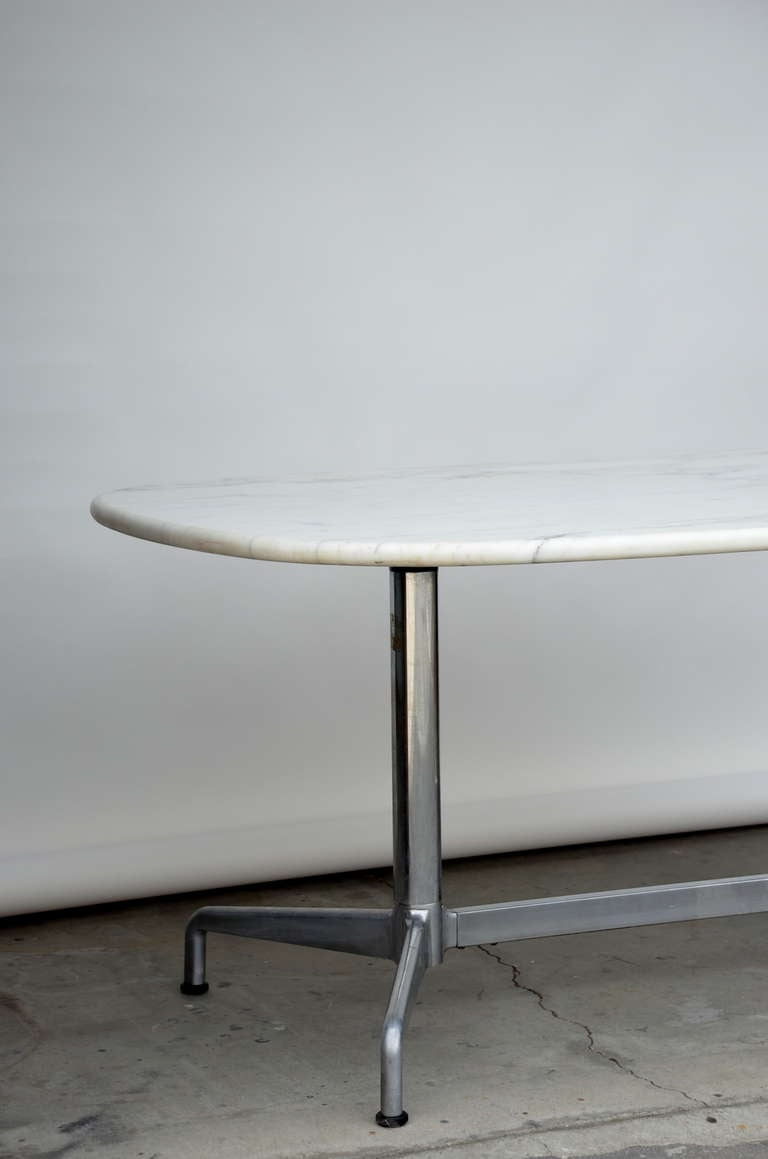 Impressive White Marble Dining Conference Table By Eames