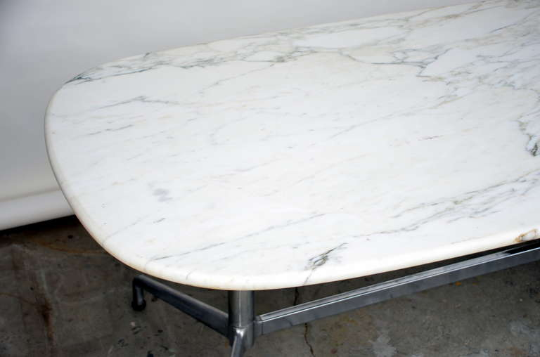 Impressive White Marble Dining Conference Table By Eames For - White marble conference table
