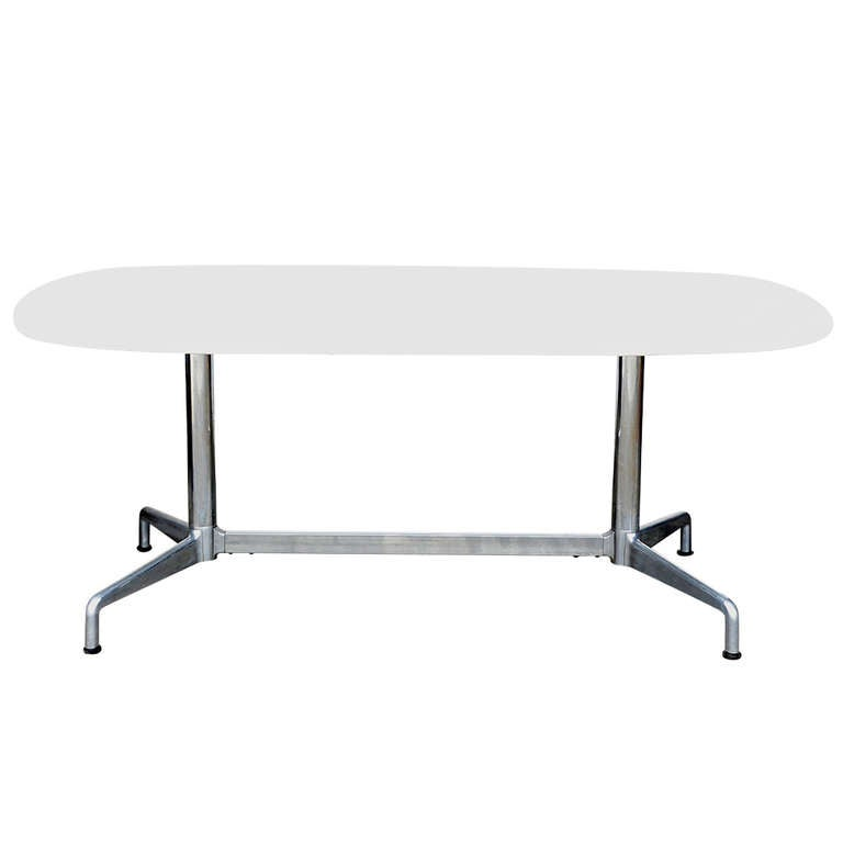 Impressive white marble dining conference table by eames - Herman miller eames table ...