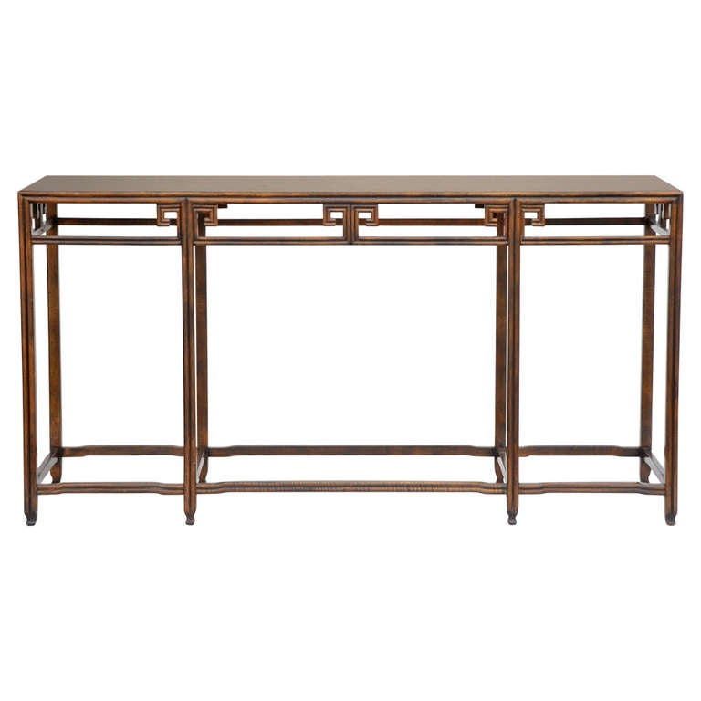 Elegant Asian Inspired Slender Console Sofa Table By Baker