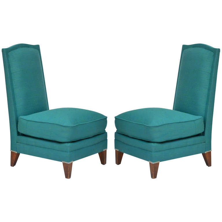 Pair of Low French 40's Oak Slipper Chairs For Sale