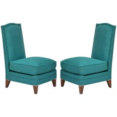 Pair of Low French 40's Oak Slipper Chairs