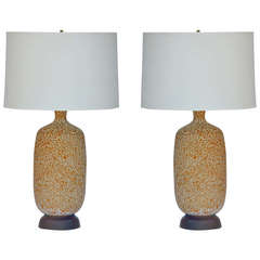 Pair of Large Textured Ceramic Lamps with Custom Shades