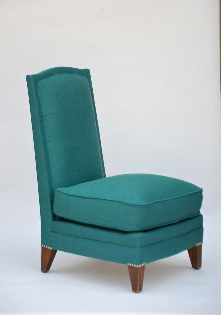 Mid-20th Century Pair of Low French 40's Oak Slipper Chairs For Sale