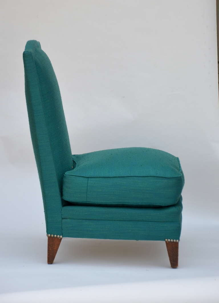 Linen Pair of Low French 40's Oak Slipper Chairs For Sale