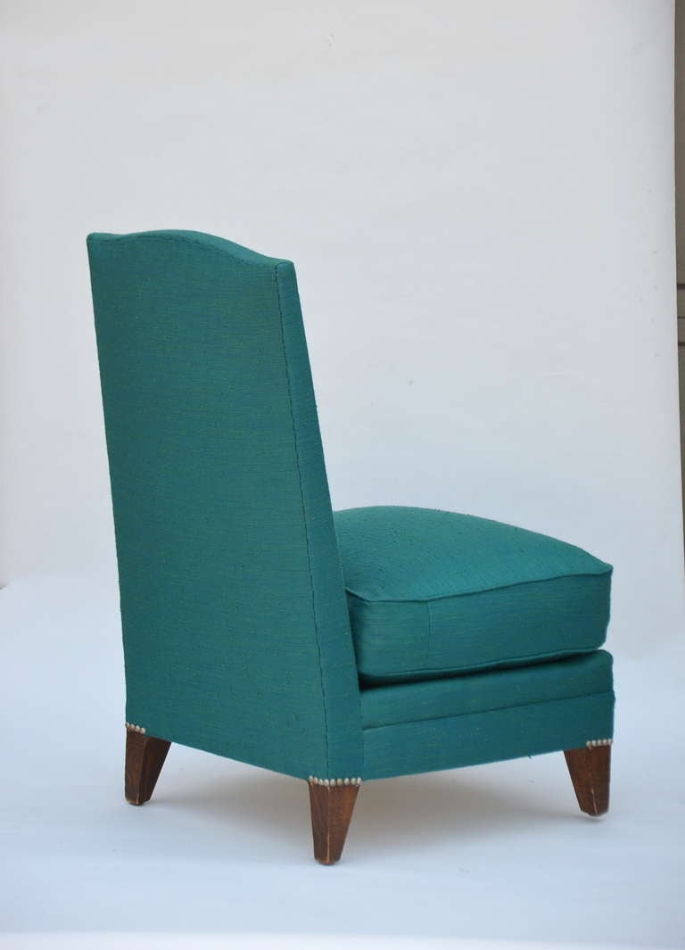 Pair of Low French 40's Oak Slipper Chairs For Sale 1