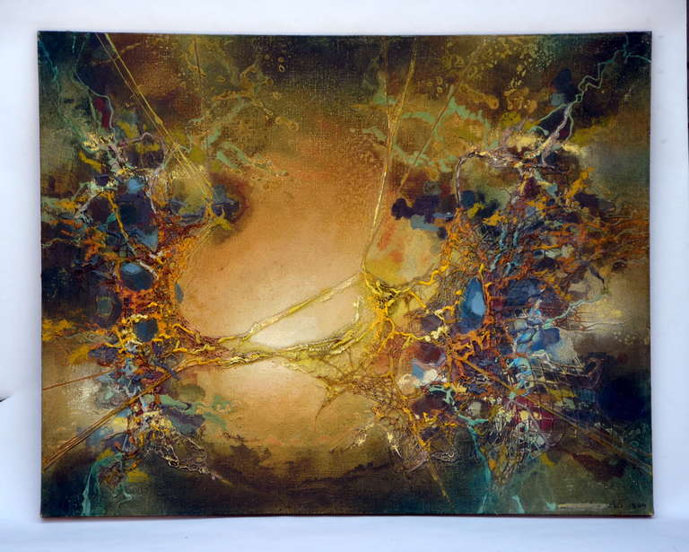 Mid-Century Modern Exceptional Abstract Painting by Zdzislaw Salaburski (1922-2006) For Sale
