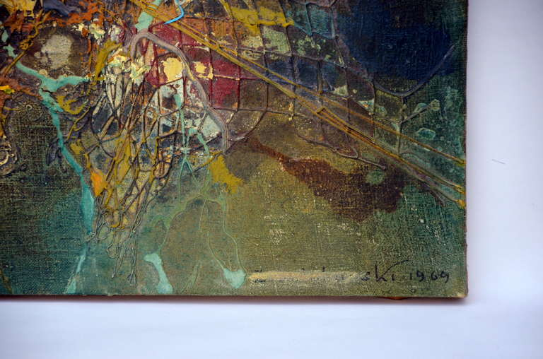 Polish Exceptional Abstract Painting by Zdzislaw Salaburski (1922-2006) For Sale