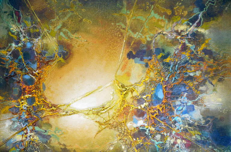 Exceptional Abstract Painting by Zdzislaw Salaburski (1922-2006) In Good Condition For Sale In Los Angeles, CA