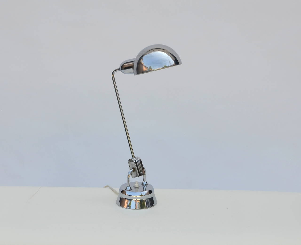 Original Jumo 600 chrome lamp selected by Charlotte Perriand. This lamp was designed by Yves JUjeau, Pierre and Andre MOunique in the 1940s and selected by Charlotte Perriand for some of her projects.