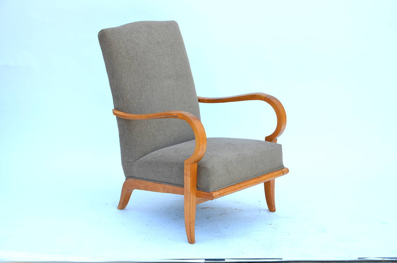 Pair of Chic French 1940s Oak Armchairs in the Style of Etienne-Henri Martin 2