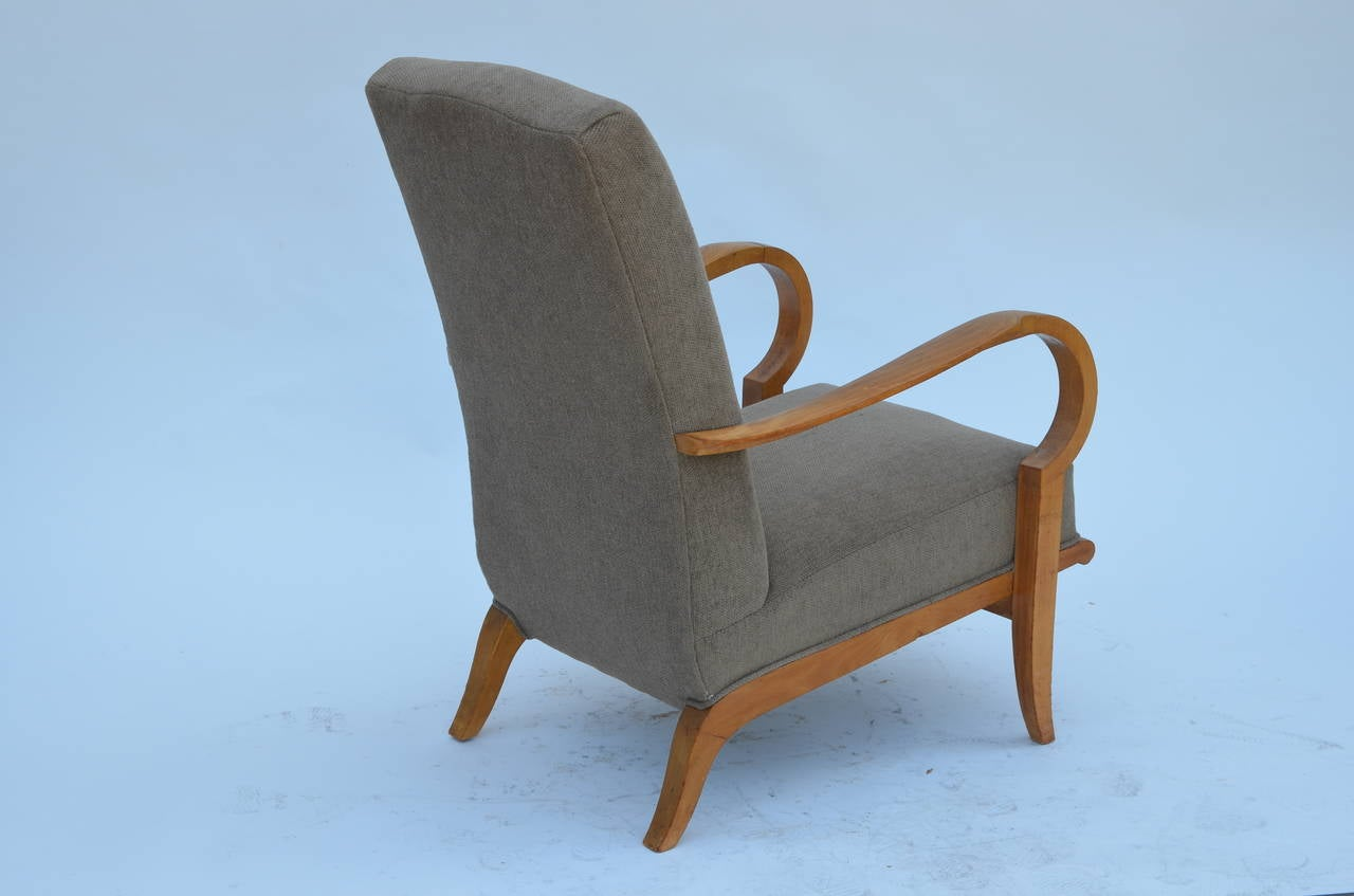 Pair of Chic French 1940s Oak Armchairs in the Style of Etienne-Henri Martin 3