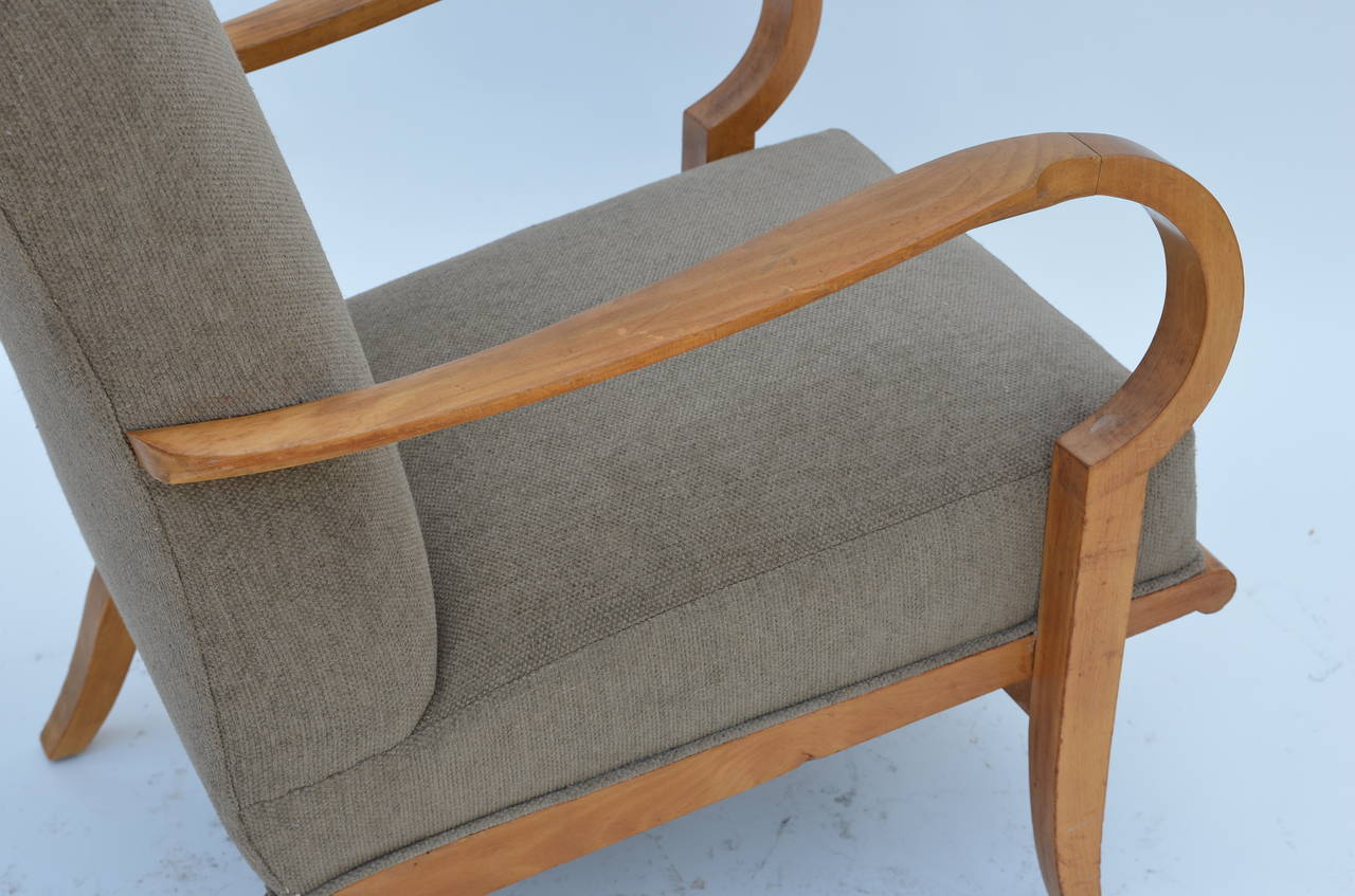 Pair of Chic French 1940s Oak Armchairs in the Style of Etienne-Henri Martin 6