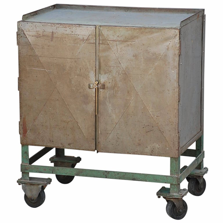 Industrial Storage Cart On Wheels At 1stdibs