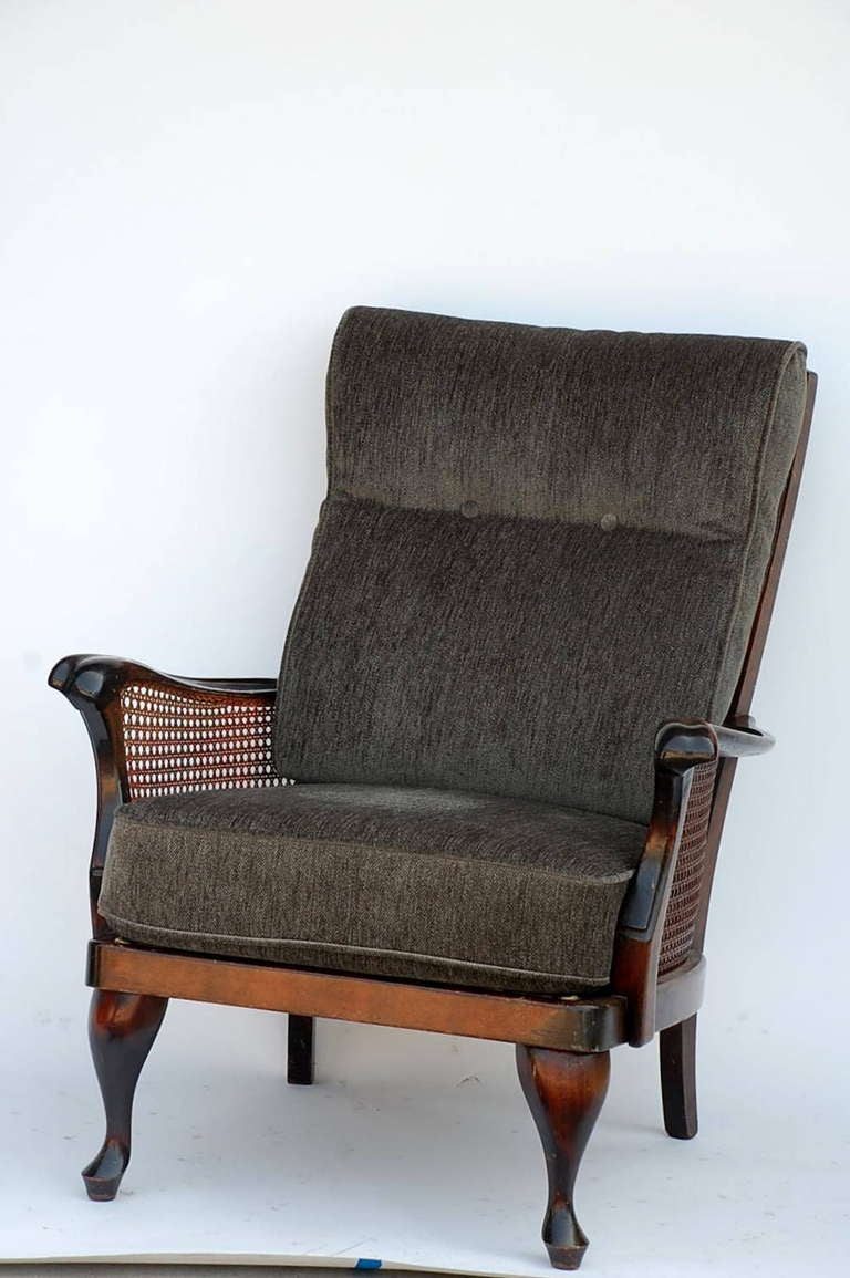 Caned comfortable scandinavian armchair and matching for Comfy armchair with ottoman