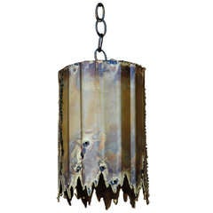 Small Brutalist Pendant Light By Tom A. Greene
