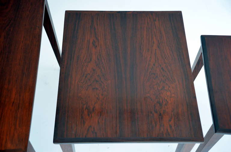 Set of Chic Danish Rosewood Nesting Tables For Sale 1