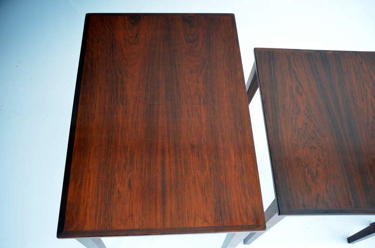 Set of Chic Danish Rosewood Nesting Tables For Sale 2