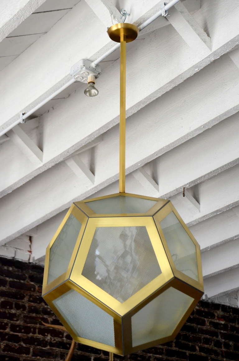 Large geometric pentagon hanging lantern, Circa 1920 design.