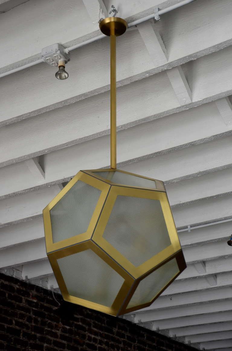 Vienna Secession Large Geometric Pentagon Hanging Lantern For Sale
