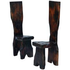 Unique Pair of Sculptural Oregon Pine Wabi Side Chairs