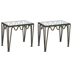 Pair of 'Méandre' Verdigris and Glass Side Tables in the style of Jean Royère
