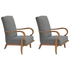 Pair of Chic French 1940s Oak Armchairs in the Style of Etienne-Henri Martin